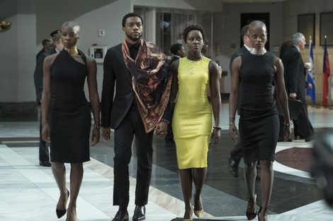 Okoye, T'Challah, Nakia and Shuri at the UN in the Black Panther movie From 47 Black Panther Quotes That Will Move, Inspire, and Get You Fired Up | BookRiot.com