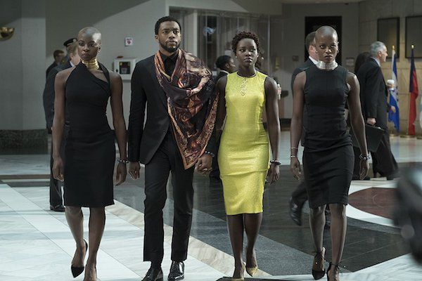 Okoye, T'Challah, Nakia at the UN in the Black Panther movie
