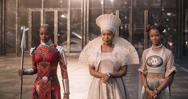Ramonda, Shuri and Nakia await T'Challah's ship in the Black Panther movie.