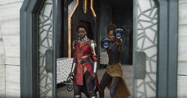 Nakia and Shuri prepare for a fight in the Black Panther movie