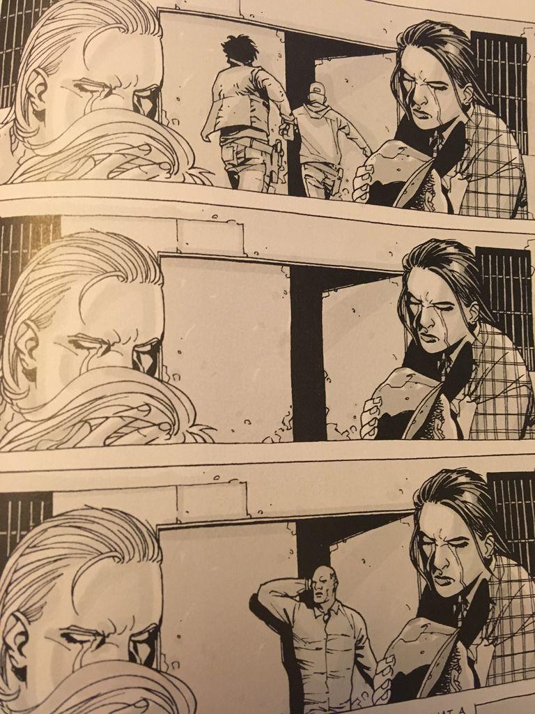 Three horizontal panels from Walking Dead 3