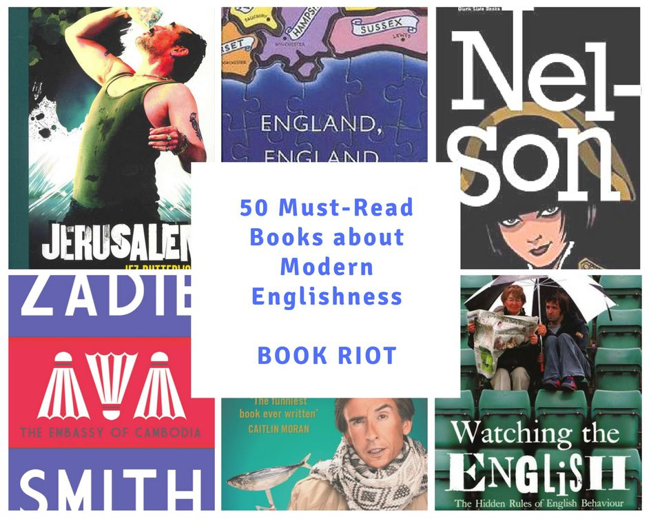 collage of six books related to modern englishness