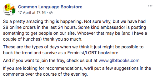 Queer Bookstores to Visit | Facebook post from Common Language queer bookstore thanking their patrons