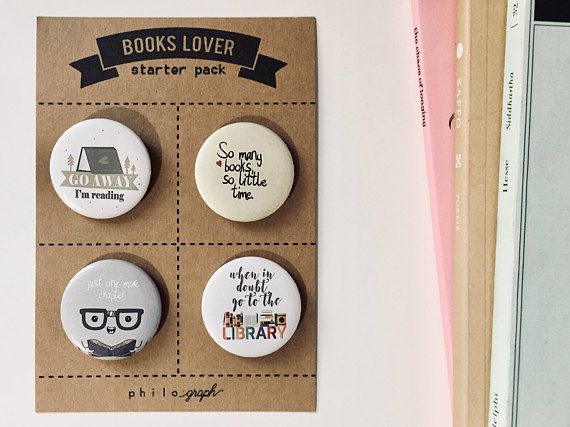 BUTTON, ENAMEL PIN, AND STICKER BOOK CLUB GIFTS