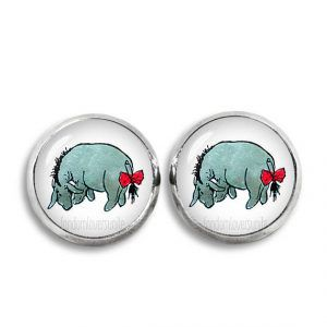 Stud earrings with color Eeyore illustration