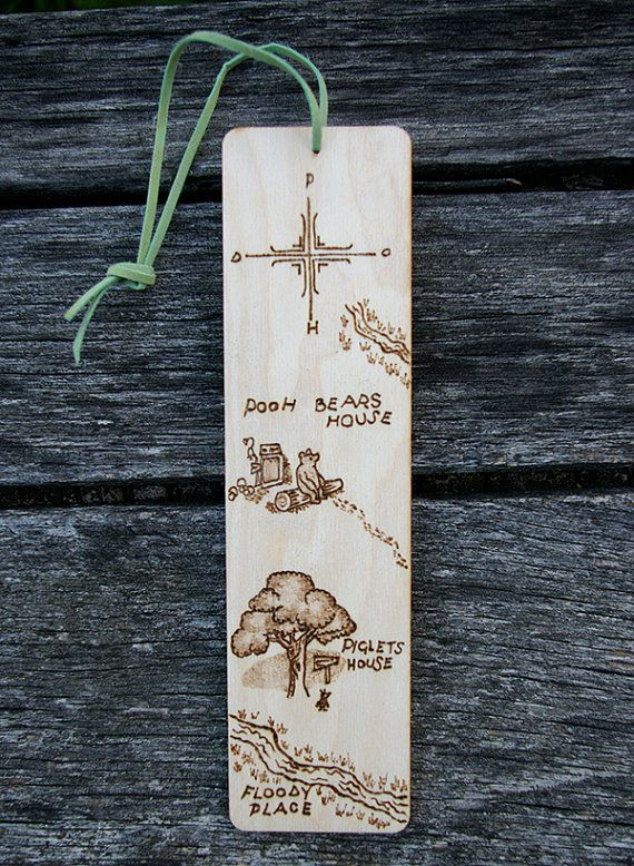 Wooden bookmark with woodburnt Hundred Acre Wood illustration