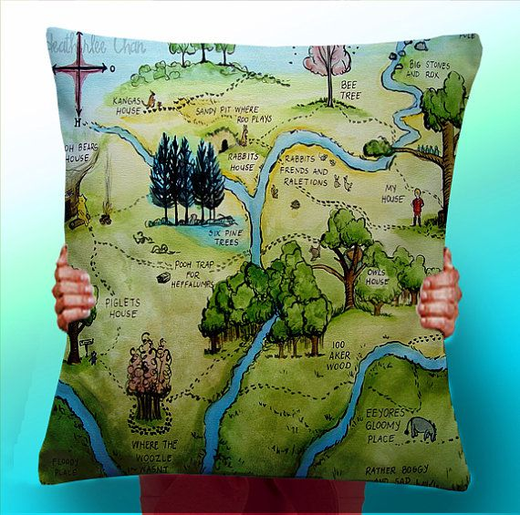 Pillow printed with color map of Hundred Acre Wood