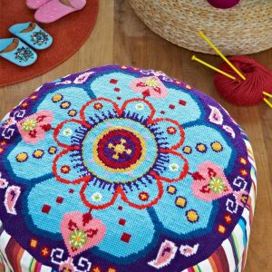 Groovy Pouffe from Supersize Stitches by Jacqui Pearce in The Best Cross Stitch Books | BookRiot.com