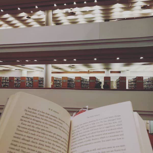 Reading at the Toronto Public Library's Reference Library for Public Places to Read Other than a Cafe.