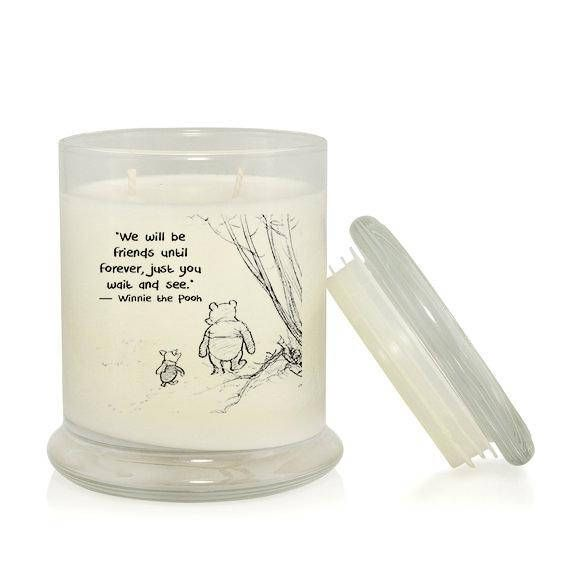 Candle with B&W Winnie-the-Pooh illustration and quote