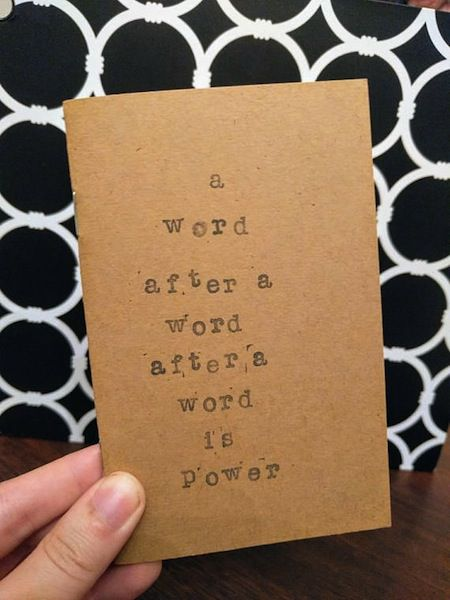 """Mini notebook featuring """"A word after a word after a word is power"""" in 25 Inspiring Margaret Atwood Quotes 