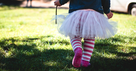 toddler in a tutu springtime