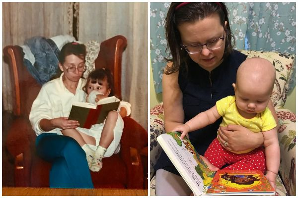 Contributor Margaret Kingsbury reads with her child, and her mother reads with her as a child, shared in celebration of bookish moms for Mother's Day
