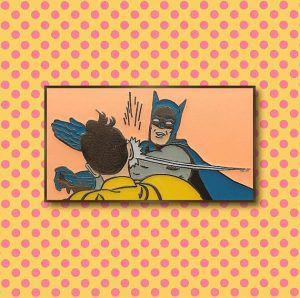 Retro Batman Slap Pin from 20 Enamel Pins For The Comic Geek | bookriot.com