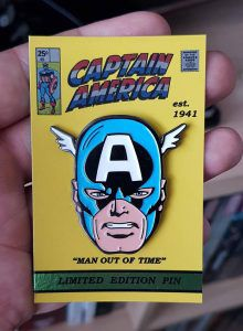 Captain America Pin from 20 Enamel Pins For The Comic Geek | bookriot.com