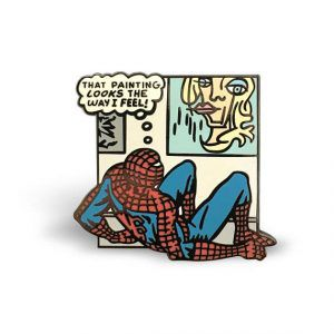 Spider-Man Panel Pin from 20 Enamel Pins For The Comic Geek | bookriot.com