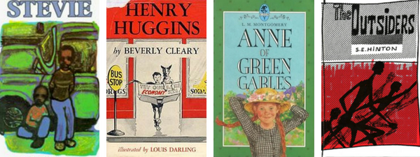 Classic Realistic Fiction Children's Books - Stevie by John Steptoe, Anne of Green Gables by L.M. Montgomery, Henry Huggins by Beverly Cleary, and The Outsiders by S.E. Hinton