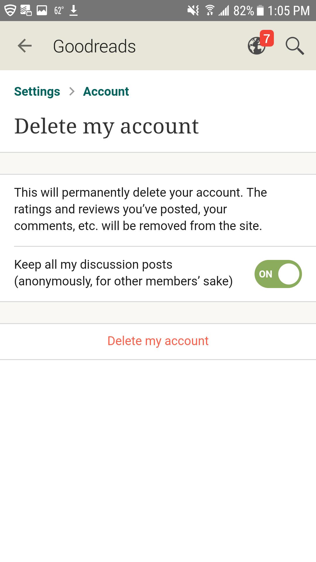 How do i delete my goodreads account