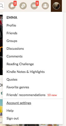 Goodreads Profile Dropdown Menu