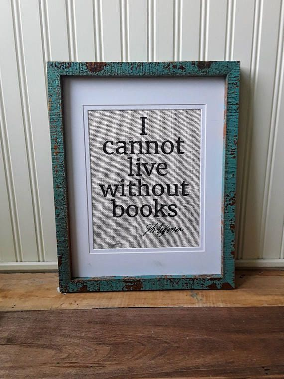I cannot live without books book wall art thomas jefferson quote