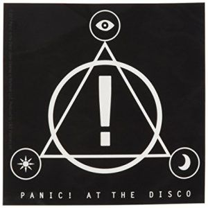 Panic at the Disco logo, featuring a triangle with an exclamation point in the center, surrounded by a circle