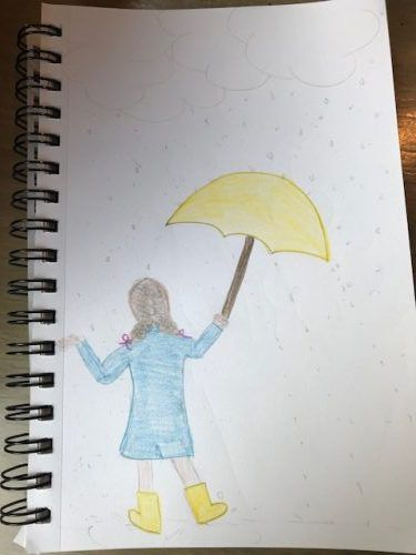 Author sketch, girl with umbrella | Book Riot, Comics Syllabus to Dabble Deeper