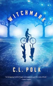 Cover of Witchmark with a person riding a bicycle on a blue background with two people reflected in the ground