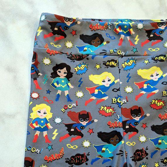 wonder woman cartoon kids leggings