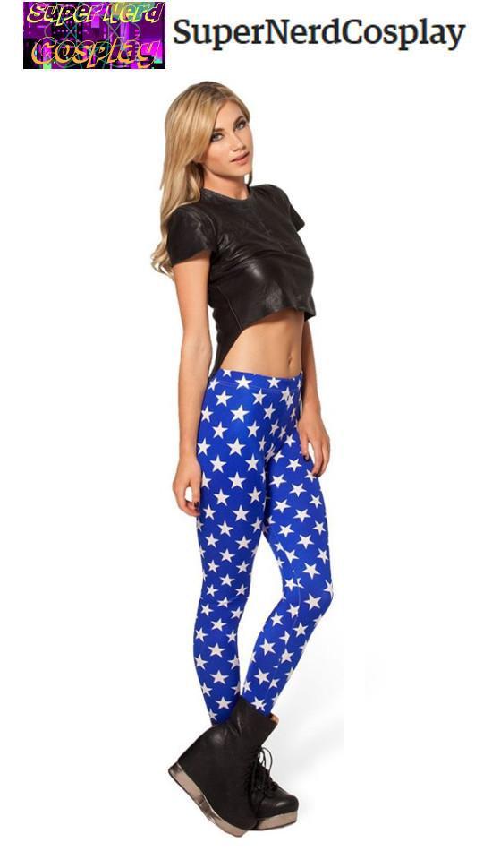 "60530398afc6b ""Wonder Woman Inspired Blue with White Stars"" Leggings"