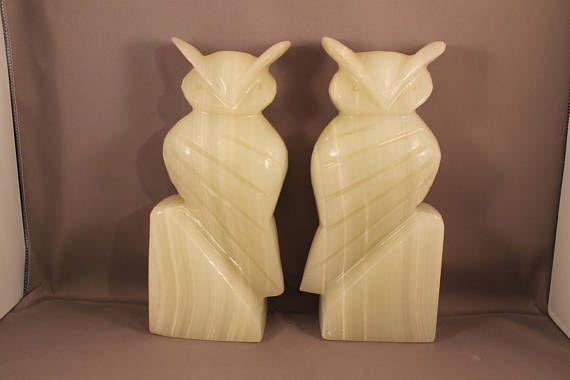 alabaster owl bookends