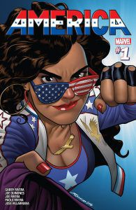 queer marvel characters | America #1, written by Gabby Rivera, illustrated by Joe Quinones