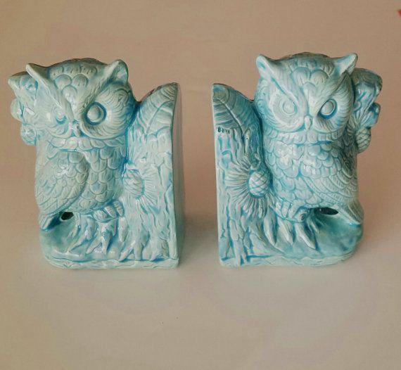 Aqua owl bookends