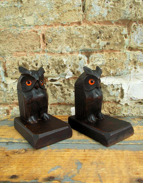 black wooden owl bookends