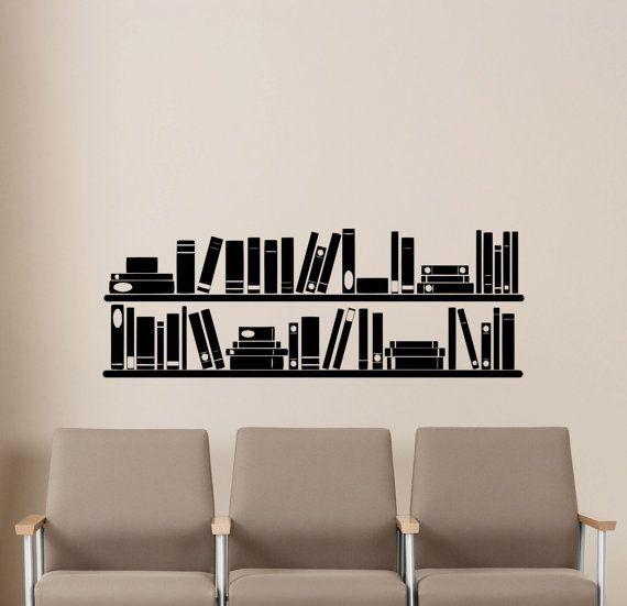 Bookshelf book wall art decal