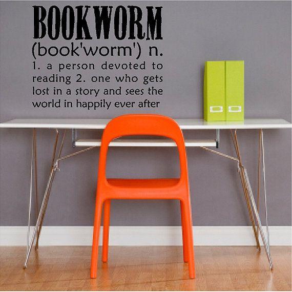 Bookworm book wall art decal