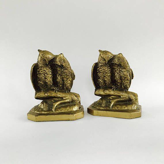 brass owl pair bookends