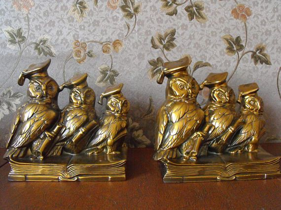 Brass wise student owl bookends