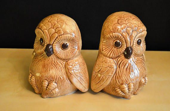 Ceramic baby owl bookends