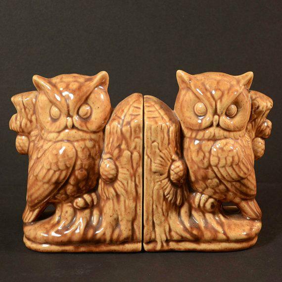 Ceramic owl bookends