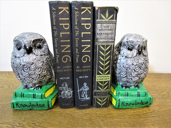 Chalkware Owl Bookends