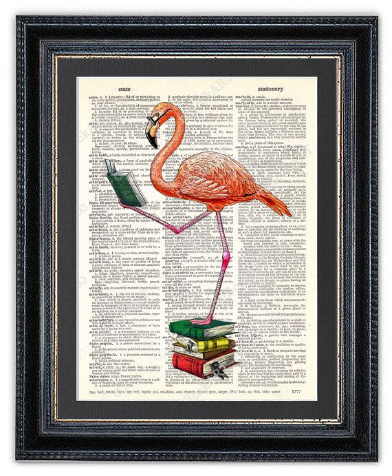 Flamingo reading book wall art on a dictionary page