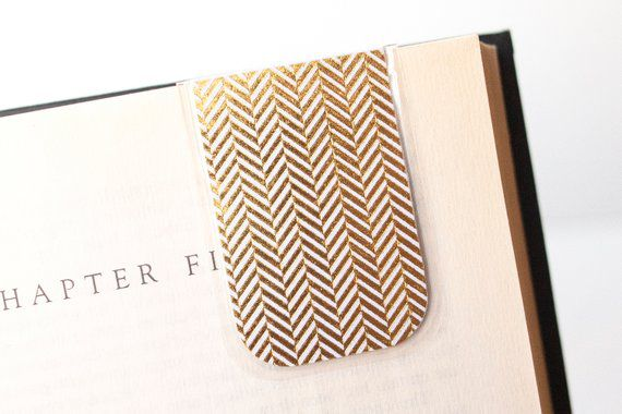 Gold Herringbone Magnetic Bookmark