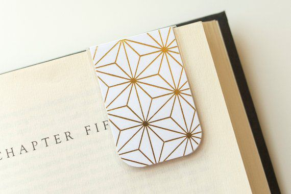 Gold metallic magnetic bookmark