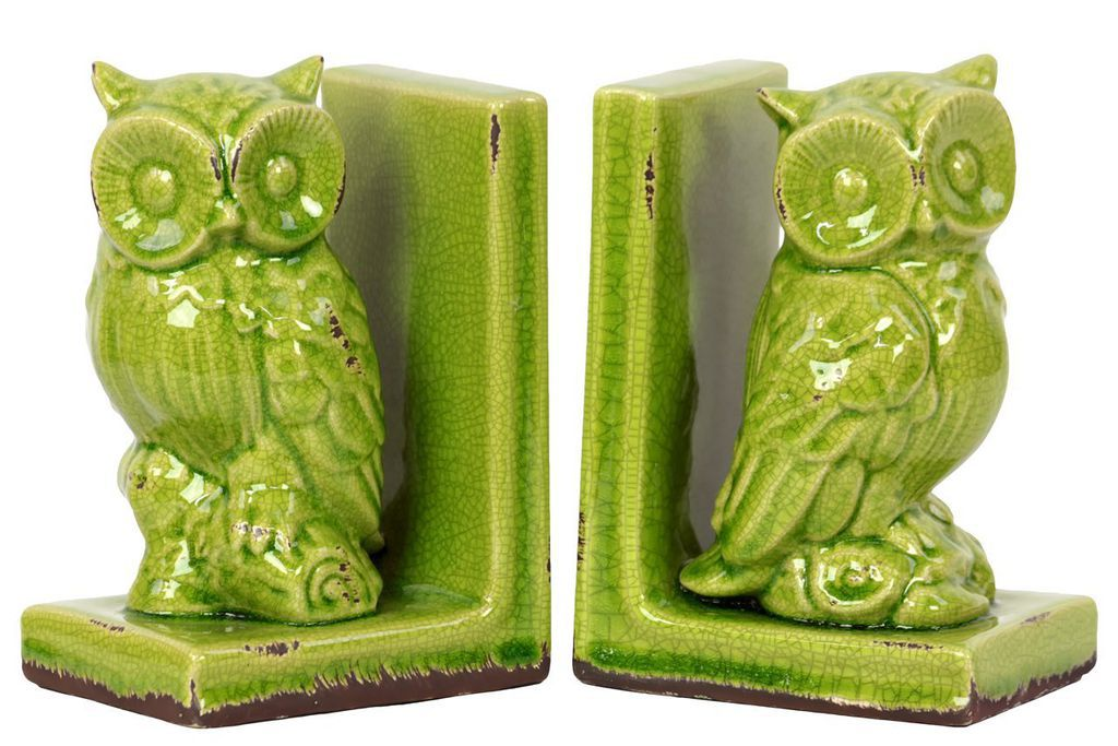 green stoneware owl bookends