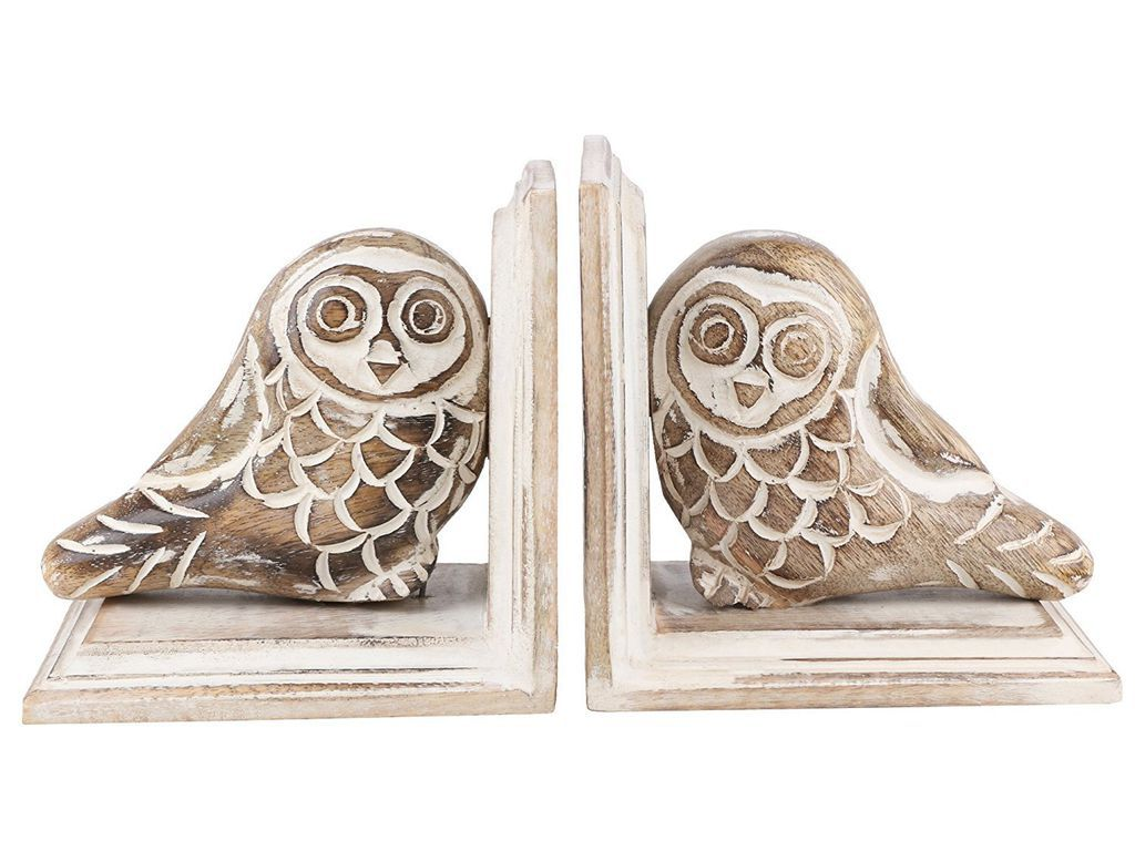hand-carved wooden owl bookends