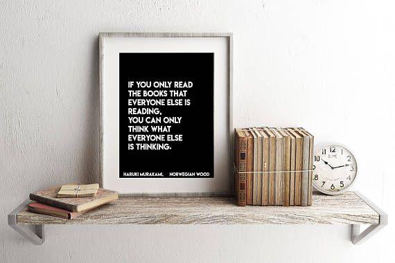 Haruki Murakami quote about books wall art