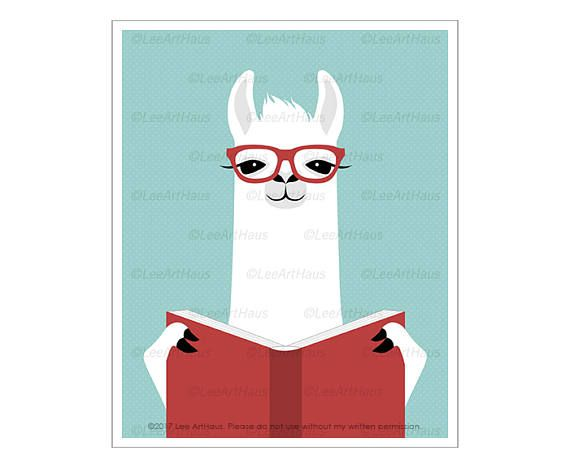 Llama reading a book book wall art