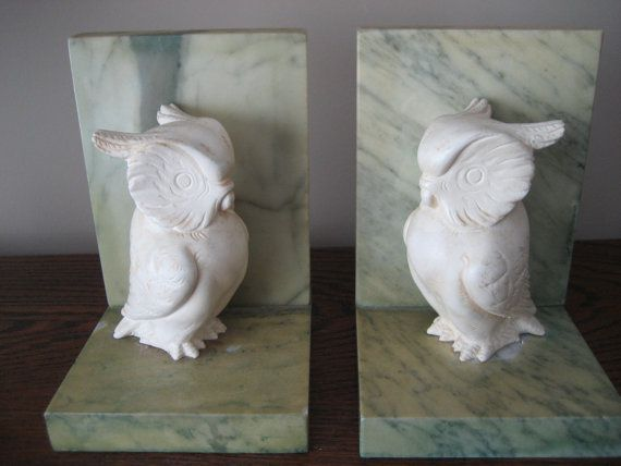 marble and alabaster owl bookends