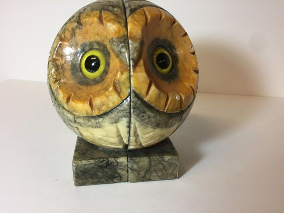 midcentury alabaster owl bookends