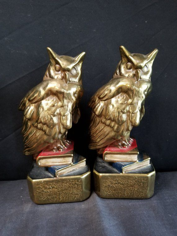 owls on books brass bookends